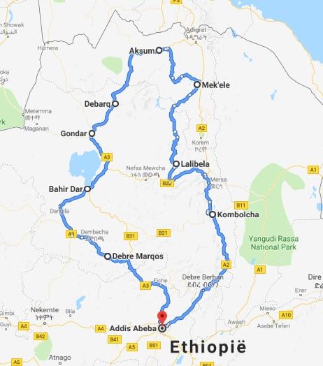 kaart Kerst reis